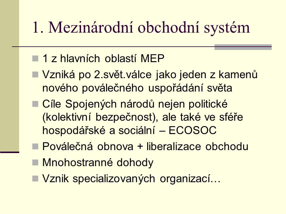 1. Mezinárodní obchodní systém 1 z hlavních oblastí MEP Vzniká po 2.svět.válce jako jeden z kamenů nového poválečného uspořádání světa Cíle Spojených