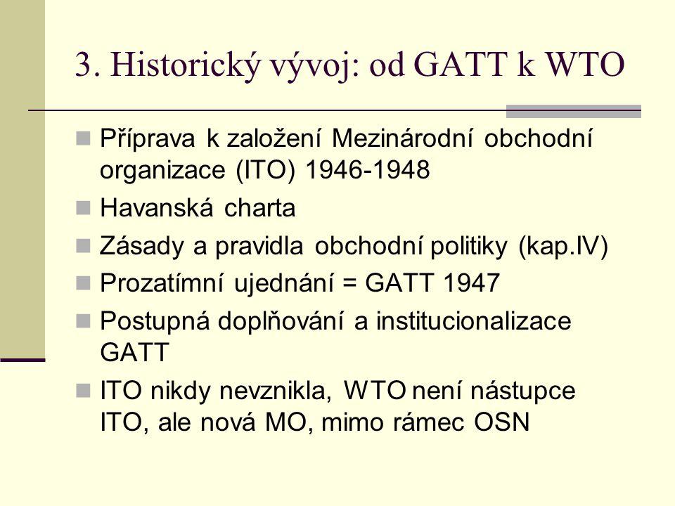 3. Historický vývoj: od GATT k WTO Příprava k založení Mezinárodní obchodní organizace (ITO) 1946-1948 Havanská charta Zásady a pravidla obchodní poli