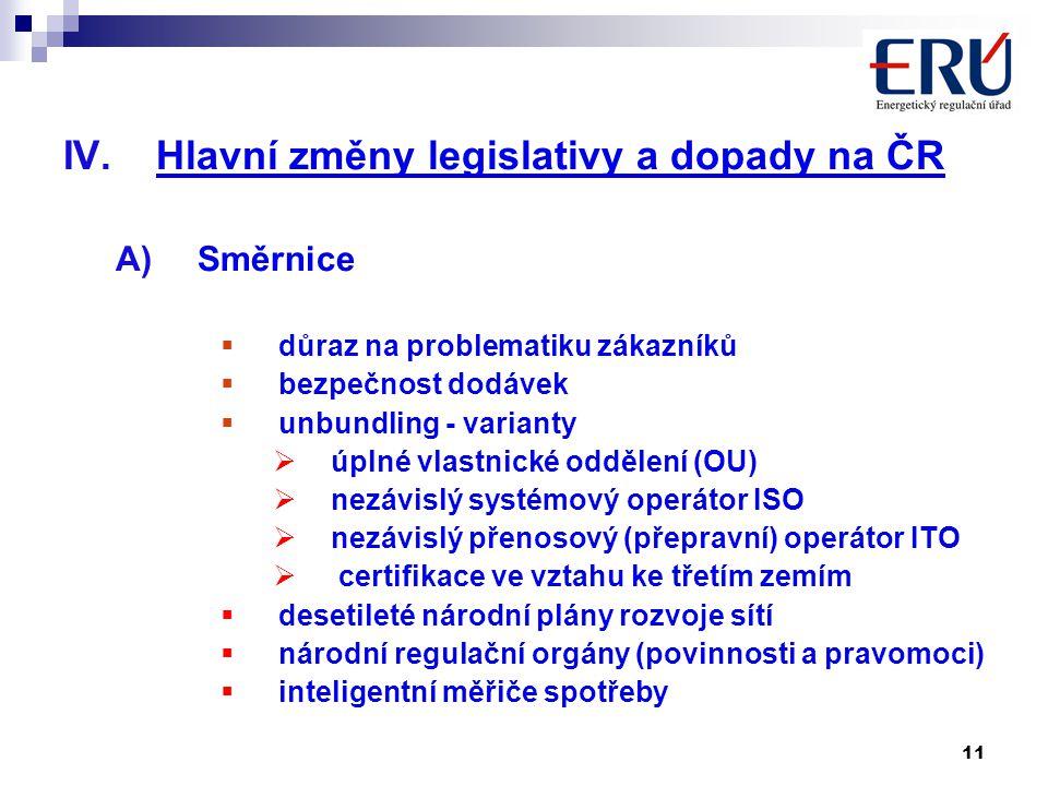 11 IV.Hlavní změny legislativy a dopady na ČR A)Směrnice  důraz na problematiku zákazníků  bezpečnost dodávek  unbundling - varianty  úplné vlastnické oddělení (OU)  nezávislý systémový operátor ISO  nezávislý přenosový (přepravní) operátor ITO  certifikace ve vztahu ke třetím zemím  desetileté národní plány rozvoje sítí  národní regulační orgány (povinnosti a pravomoci)  inteligentní měřiče spotřeby