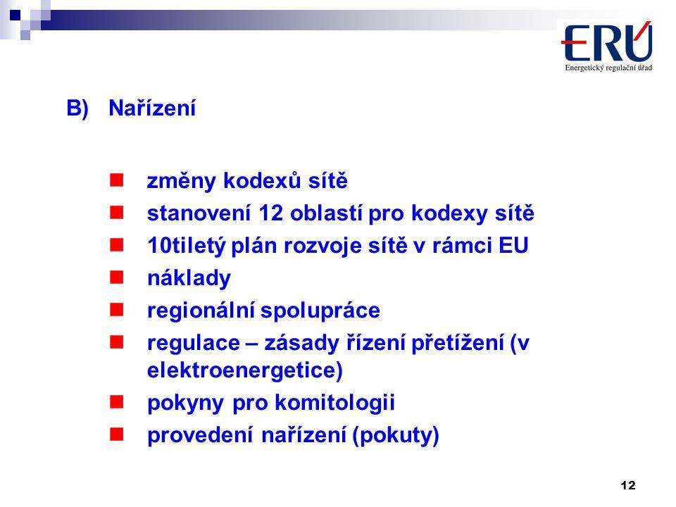 12 B)Nařízení změny kodexů sítě stanovení 12 oblastí pro kodexy sítě 10tiletý plán rozvoje sítě v rámci EU náklady regionální spolupráce regulace – zásady řízení přetížení (v elektroenergetice) pokyny pro komitologii provedení nařízení (pokuty)