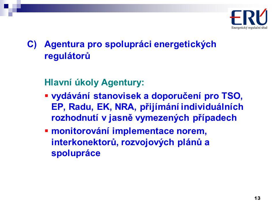 13 C)Agentura pro spolupráci energetických regulátorů Hlavní úkoly Agentury:  vydávání stanovisek a doporučení pro TSO, EP, Radu, EK, NRA, přijímání individuálních rozhodnutí v jasně vymezených případech  monitorování implementace norem, interkonektorů, rozvojových plánů a spolupráce