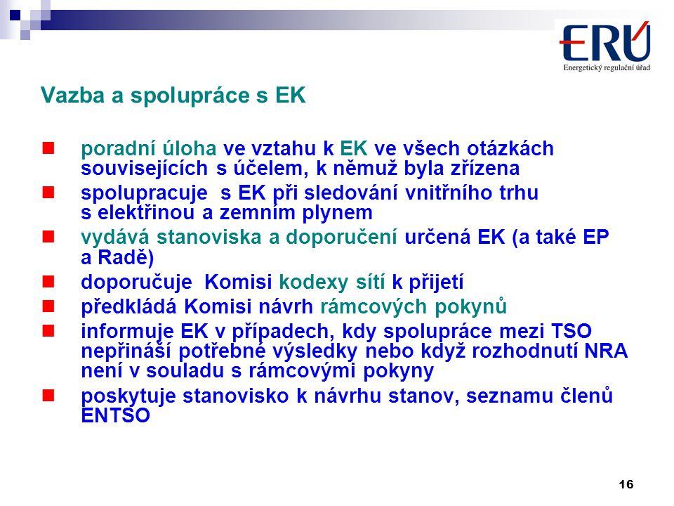 16 Vazba a spolupráce s EK poradní úloha ve vztahu k EK ve všech otázkách souvisejících s účelem, k němuž byla zřízena spolupracuje s EK při sledování vnitřního trhu s elektřinou a zemním plynem vydává stanoviska a doporučení určená EK (a také EP a Radě) doporučuje Komisi kodexy sítí k přijetí předkládá Komisi návrh rámcových pokynů informuje EK v případech, kdy spolupráce mezi TSO nepřináší potřebné výsledky nebo když rozhodnutí NRA není v souladu s rámcovými pokyny poskytuje stanovisko k návrhu stanov, seznamu členů ENTSO