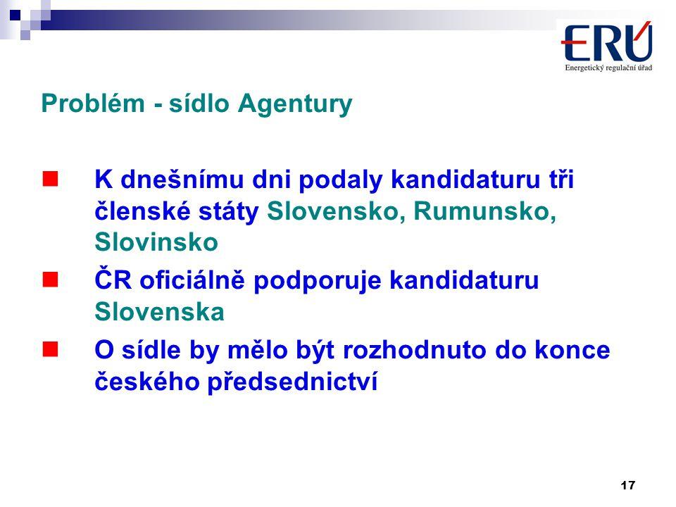 17 Problém - sídlo Agentury K dnešnímu dni podaly kandidaturu tři členské státy Slovensko, Rumunsko, Slovinsko ČR oficiálně podporuje kandidaturu Slovenska O sídle by mělo být rozhodnuto do konce českého předsednictví