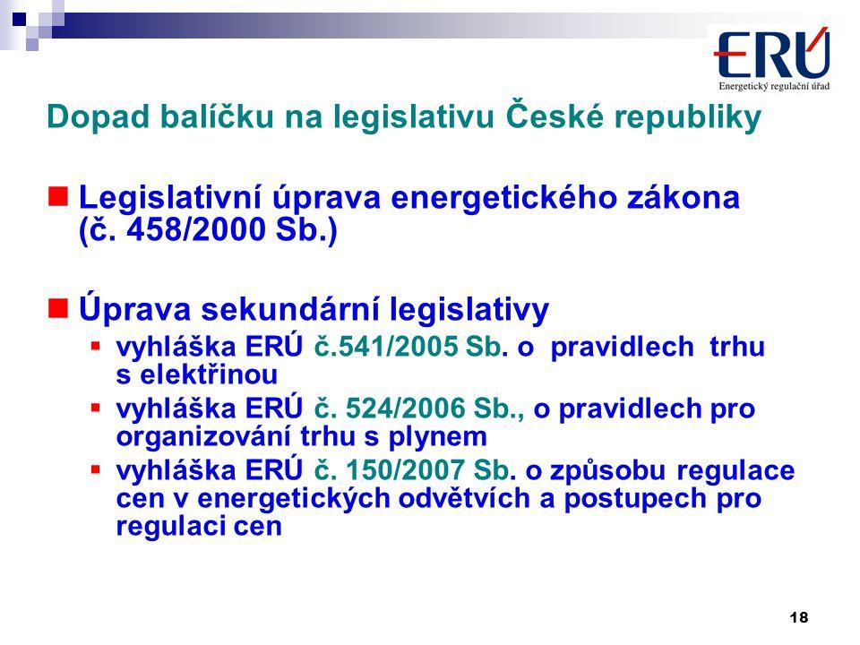 18 Dopad balíčku na legislativu České republiky Legislativní úprava energetického zákona (č.