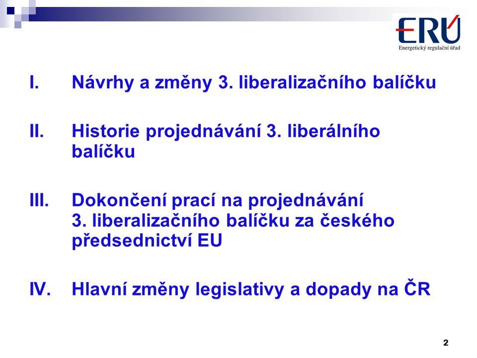 2 I.Návrhy a změny 3. liberalizačního balíčku II.Historie projednávání 3.