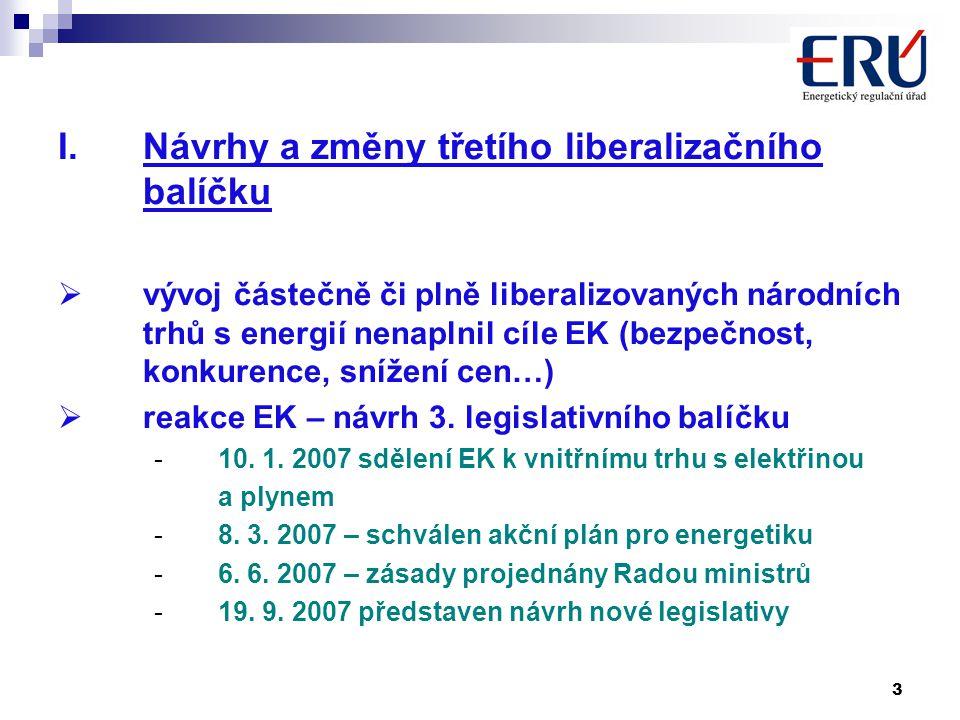 3 I.Návrhy a změny třetího liberalizačního balíčku  vývoj částečně či plně liberalizovaných národních trhů s energií nenaplnil cíle EK (bezpečnost, konkurence, snížení cen…)  reakce EK – návrh 3.