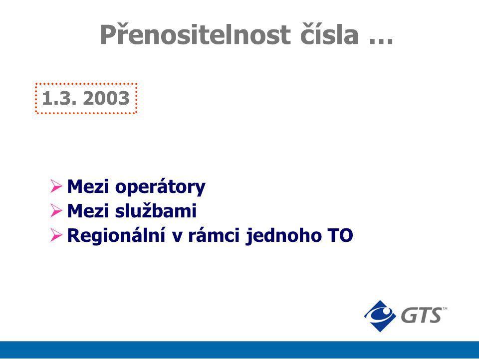 1.3. 2003 Přenositelnost čísla …  Mezi operátory  Mezi službami  Regionální v rámci jednoho TO