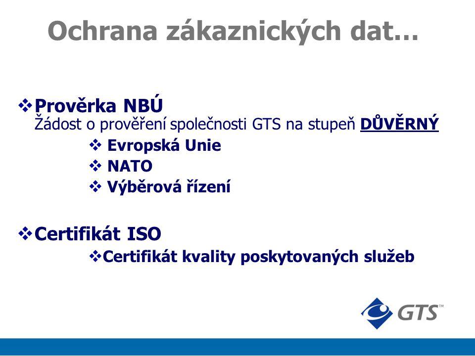 Ochrana zákaznických dat…  Prověrka NBÚ Žádost o prověření společnosti GTS na stupeň DŮVĚRNÝ  Evropská Unie  NATO  Výběrová řízení  Certifikát ISO  Certifikát kvality poskytovaných služeb