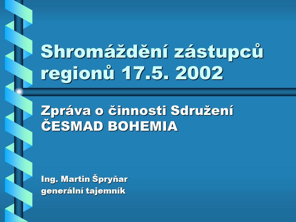 Shromáždění zástupců regionů 17.5. 2002 Zpráva o činnosti Sdružení ČESMAD BOHEMIA Ing.