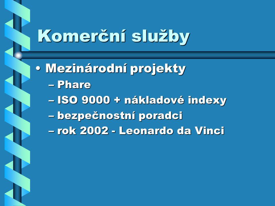 Komerční služby Mezinárodní projektyMezinárodní projekty –Phare –ISO 9000 + nákladové indexy –bezpečnostní poradci –rok 2002 - Leonardo da Vinci