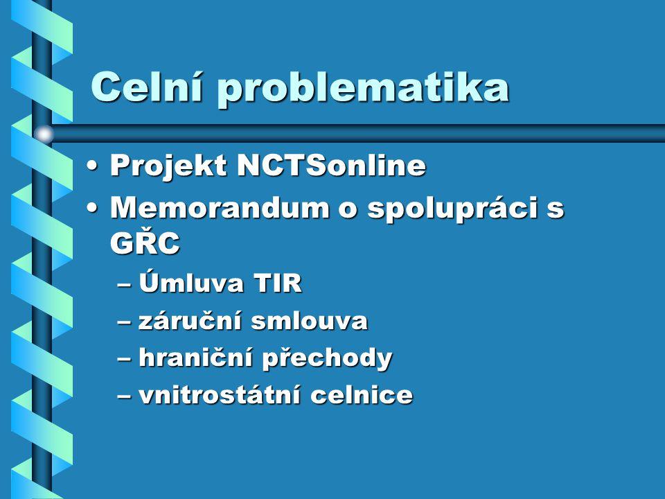 Celní problematika Projekt NCTSonlineProjekt NCTSonline Memorandum o spolupráci s GŘCMemorandum o spolupráci s GŘC –Úmluva TIR –záruční smlouva –hraniční přechody –vnitrostátní celnice