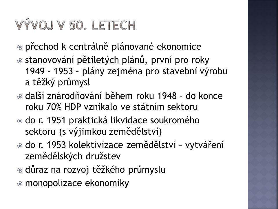  přechod k centrálně plánované ekonomice  stanovování pětiletých plánů, první pro roky 1949 – 1953 – plány zejména pro stavební výrobu a těžký průmy
