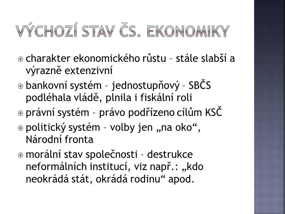  charakter ekonomického růstu – stále slabší a výrazně extenzivní  bankovní systém – jednostupňový – SBČS podléhala vládě, plnila i fiskální roli 