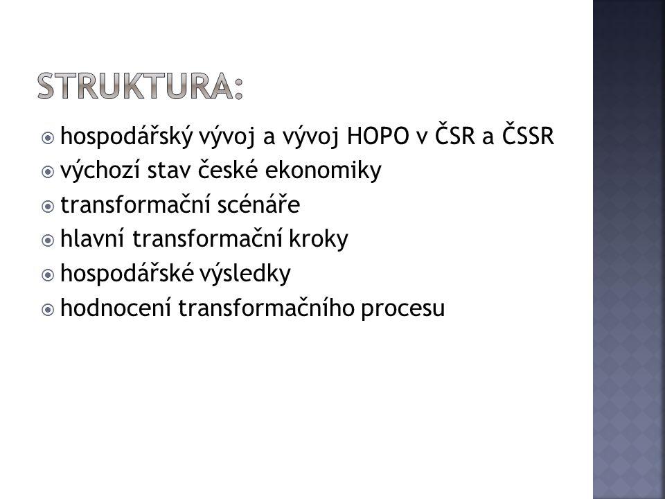  hospodářský vývoj a vývoj HOPO v ČSR a ČSSR  výchozí stav české ekonomiky  transformační scénáře  hlavní transformační kroky  hospodářské výsled