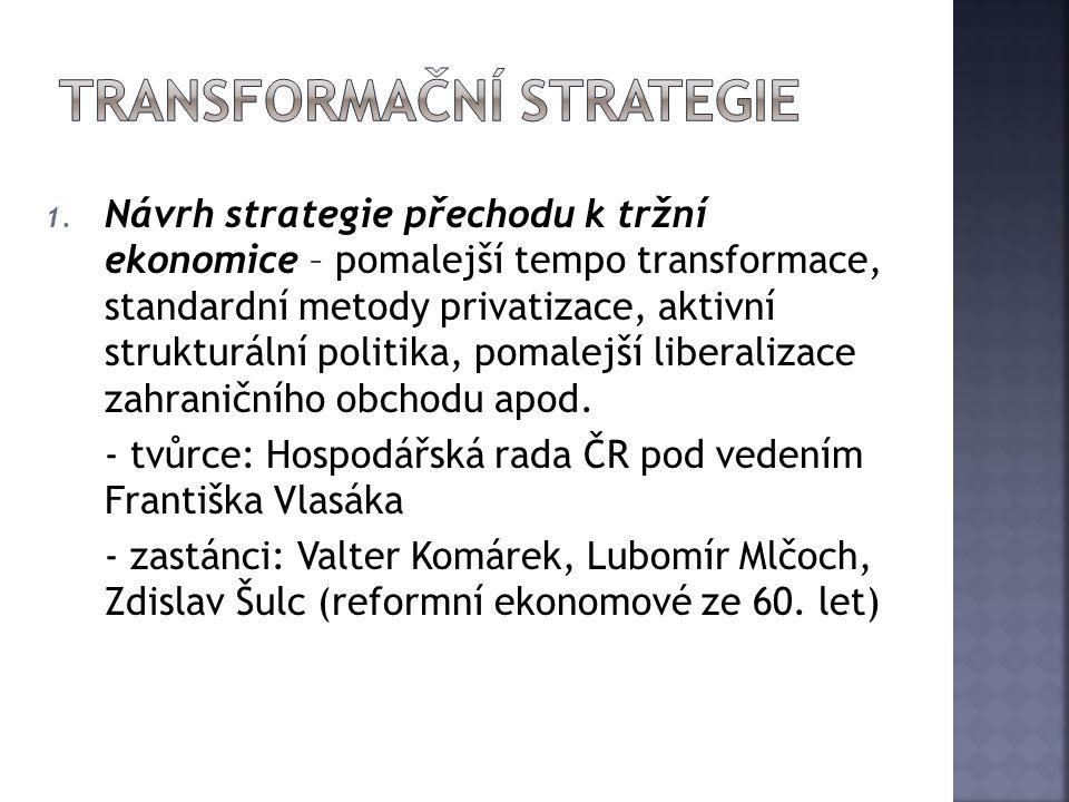 1. Návrh strategie přechodu k tržní ekonomice – pomalejší tempo transformace, standardní metody privatizace, aktivní strukturální politika, pomalejší