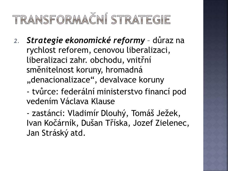 """2. Strategie ekonomické reformy – důraz na rychlost reforem, cenovou liberalizaci, liberalizaci zahr. obchodu, vnitřní směnitelnost koruny, hromadná """""""