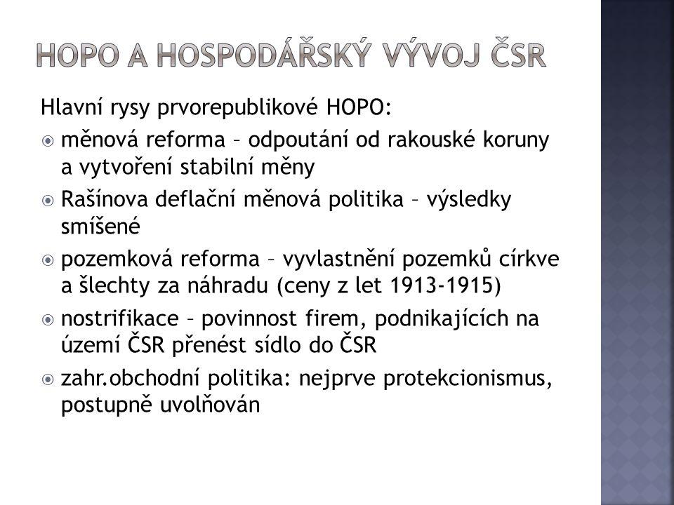 Hlavní rysy prvorepublikové HOPO:  měnová reforma – odpoutání od rakouské koruny a vytvoření stabilní měny  Rašínova deflační měnová politika – výsl