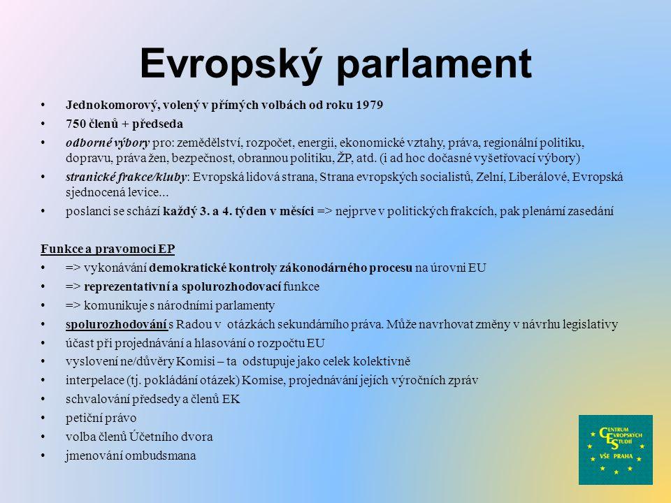 Evropský parlament Jednokomorový, volený v přímých volbách od roku 1979 750 členů + předseda odborné výbory pro: zemědělství, rozpočet, energii, ekono