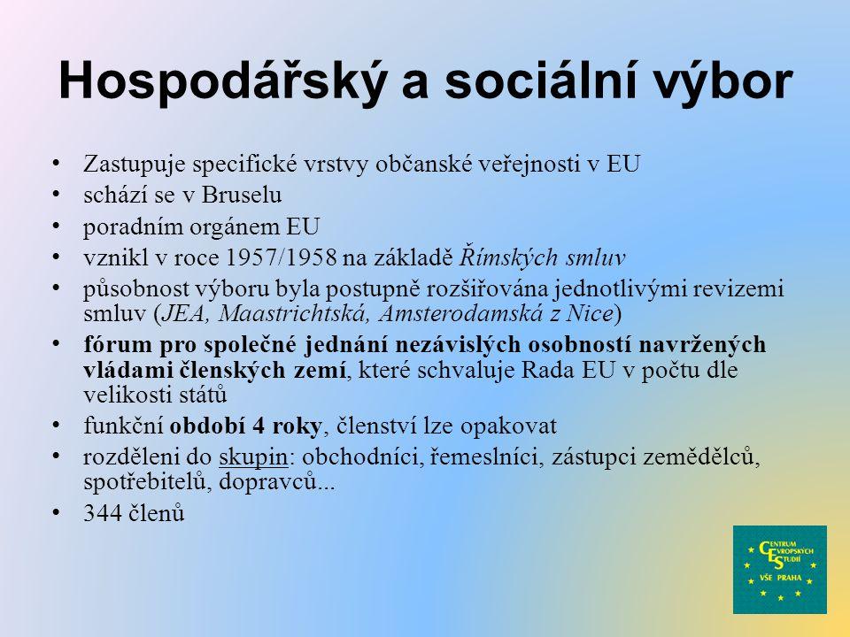 Hospodářský a sociální výbor Zastupuje specifické vrstvy občanské veřejnosti v EU schází se v Bruselu poradním orgánem EU vznikl v roce 1957/1958 na z