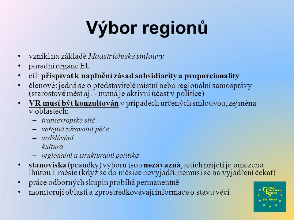 Výbor regionů vznikl na základě Maastrichtské smlouvy poradní orgáne EU cíl: přispívat k naplnění zásad subsidiarity a proporcionality členové: jedná