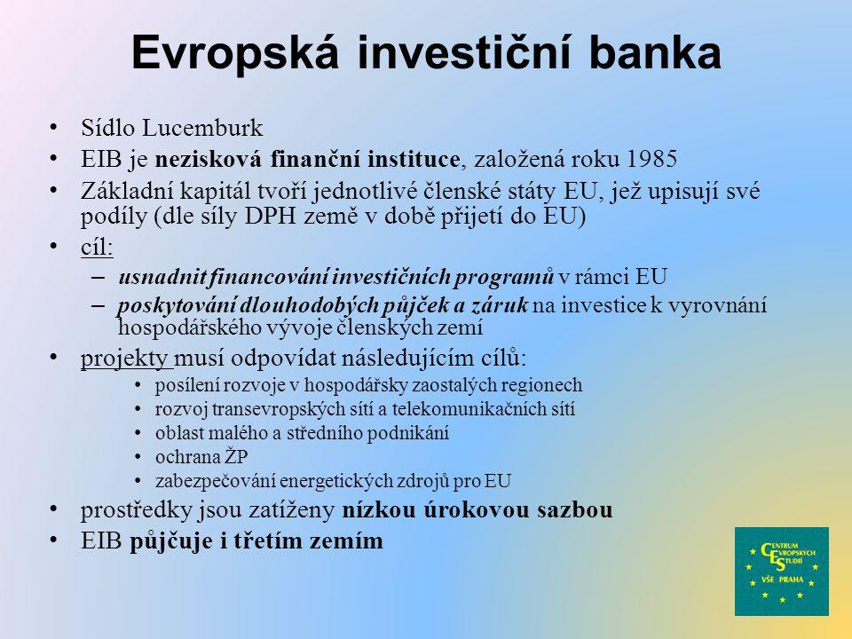 Evropská investiční banka Sídlo Lucemburk EIB je nezisková finanční instituce, založená roku 1985 Základní kapitál tvoří jednotlivé členské státy EU,
