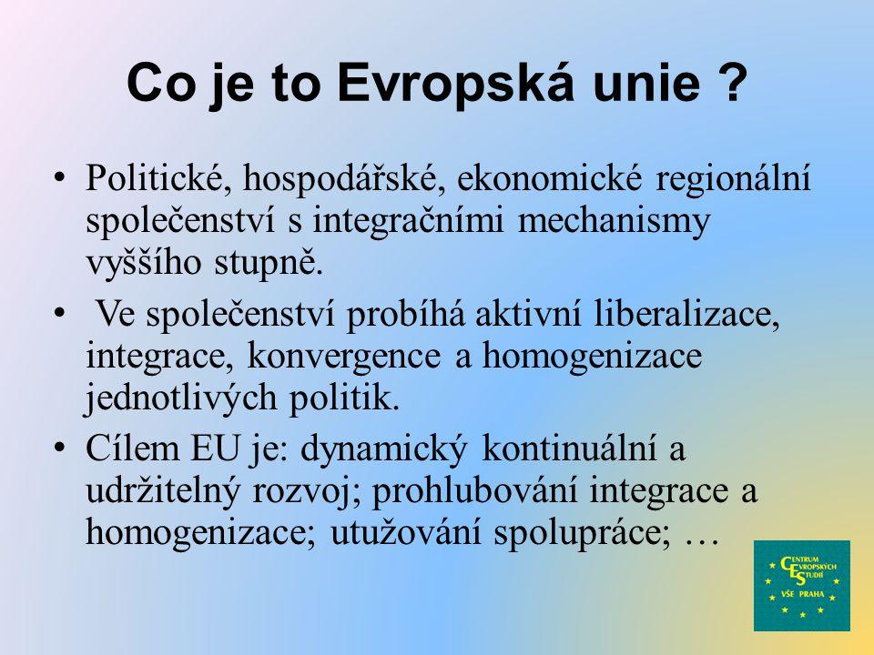 Co je to Evropská unie ? Politické, hospodářské, ekonomické regionální společenství s integračními mechanismy vyššího stupně. Ve společenství probíhá