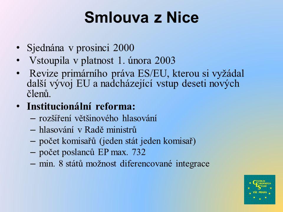 Smlouva z Nice Sjednána v prosinci 2000 Vstoupila v platnost 1. února 2003 Revize primárního práva ES/EU, kterou si vyžádal další vývoj EU a nadcházej