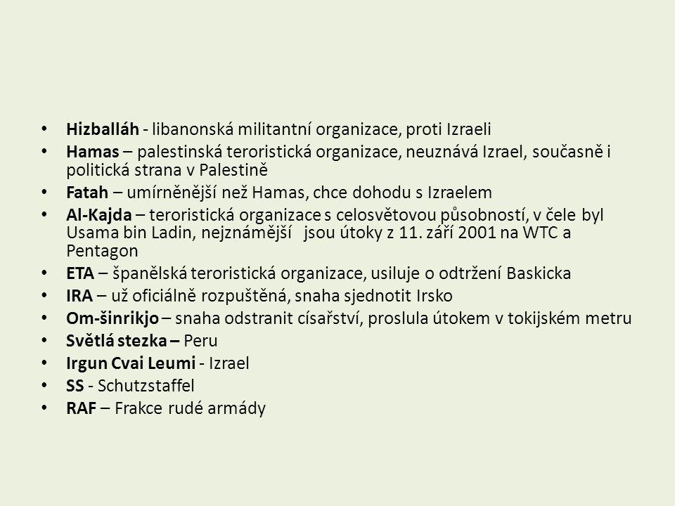 Hizballáh - libanonská militantní organizace, proti Izraeli Hamas – palestinská teroristická organizace, neuznává Izrael, současně i politická strana v Palestině Fatah – umírněnější než Hamas, chce dohodu s Izraelem Al-Kajda – teroristická organizace s celosvětovou působností, v čele byl Usama bin Ladin, nejznámější jsou útoky z 11.