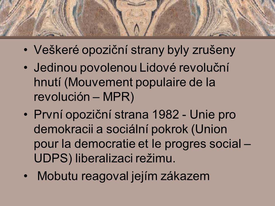 Veškeré opoziční strany byly zrušeny Jedinou povolenou Lidové revoluční hnutí (Mouvement populaire de la revolución – MPR) První opoziční strana 1982