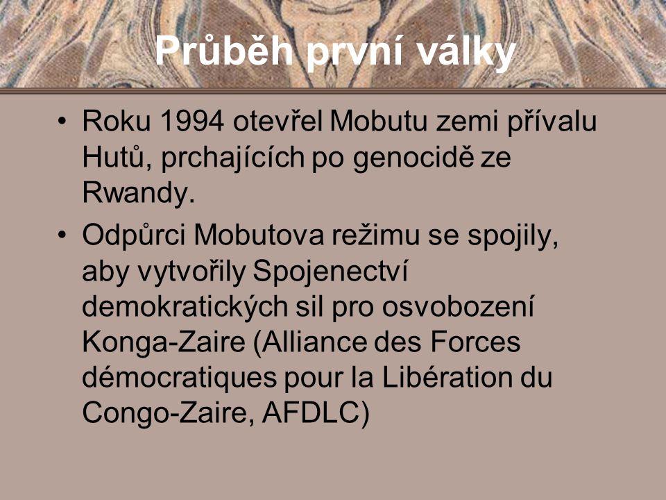 Průběh první války Roku 1994 otevřel Mobutu zemi přívalu Hutů, prchajících po genocidě ze Rwandy. Odpůrci Mobutova režimu se spojily, aby vytvořily Sp