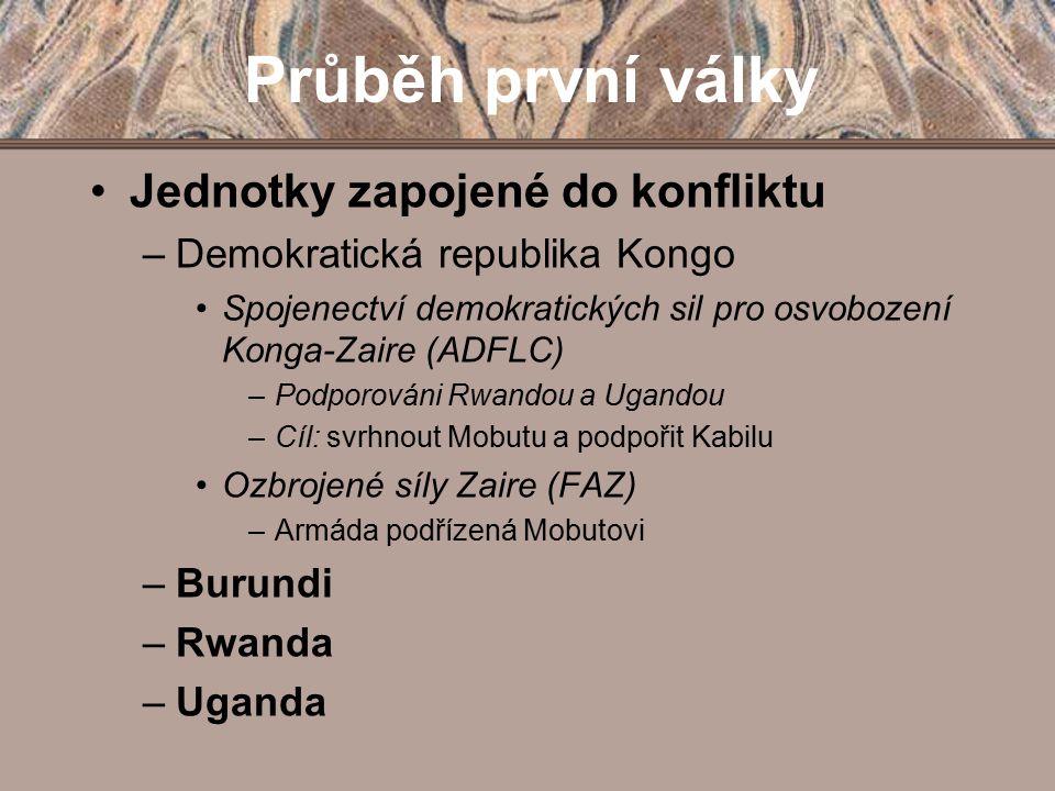 Průběh první války Jednotky zapojené do konfliktu –Demokratická republika Kongo Spojenectví demokratických sil pro osvobození Konga-Zaire (ADFLC) –Pod