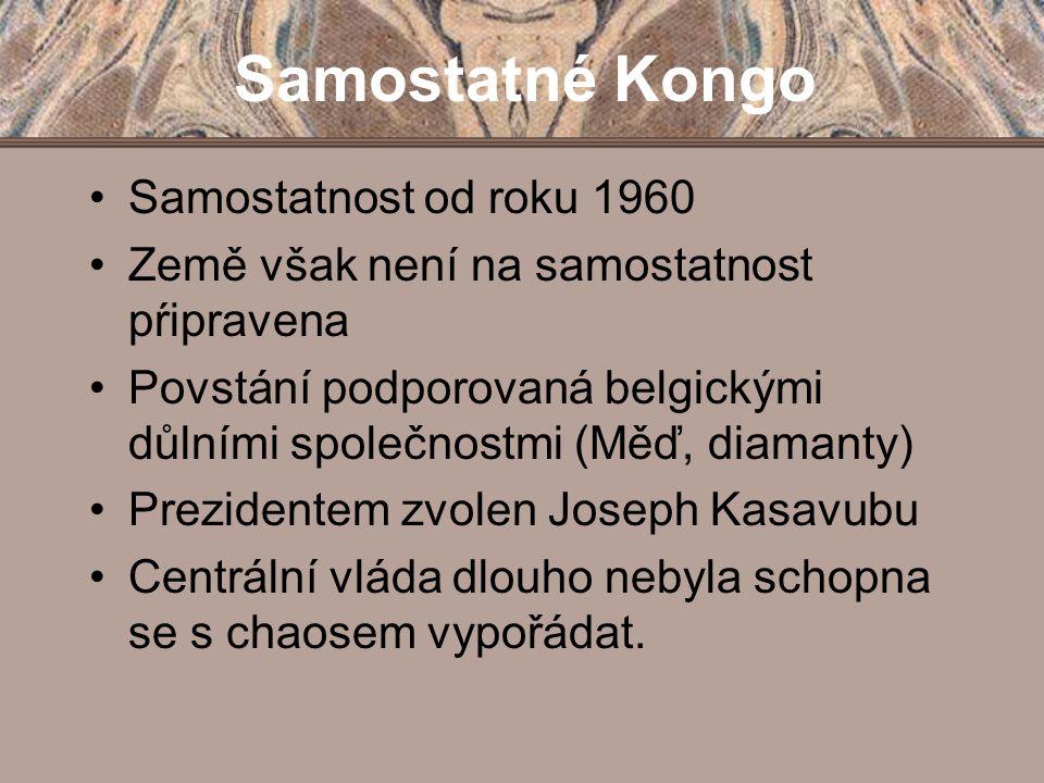 """Josepha-Desiré Mobutu Kulturní revoluce – snaží se Kongo """"poafričtit Dostává se k moci pučem v roce 1965 vytvořil jednostranický systém, kterému vévodilo Lidové revoluční hnutí (MVR) 14."""