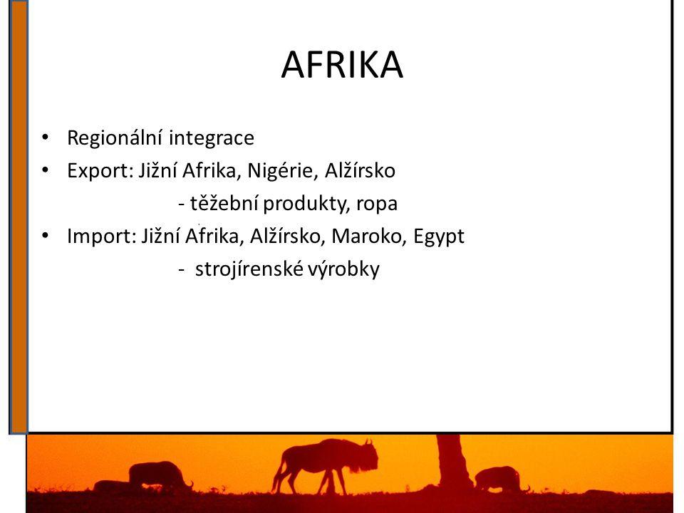AFRIKA Regionální integrace Export: Jižní Afrika, Nigérie, Alžírsko - těžební produkty, ropa Import: Jižní Afrika, Alžírsko, Maroko, Egypt - strojíren