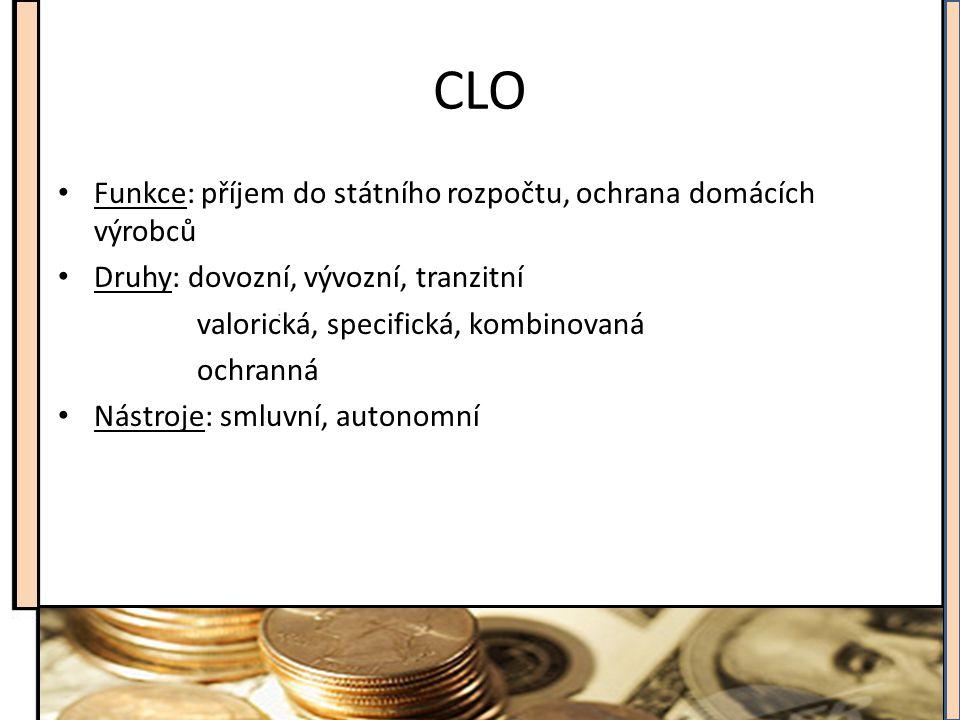 CLO Funkce: příjem do státního rozpočtu, ochrana domácích výrobců Druhy: dovozní, vývozní, tranzitní valorická, specifická, kombinovaná ochranná Nástr