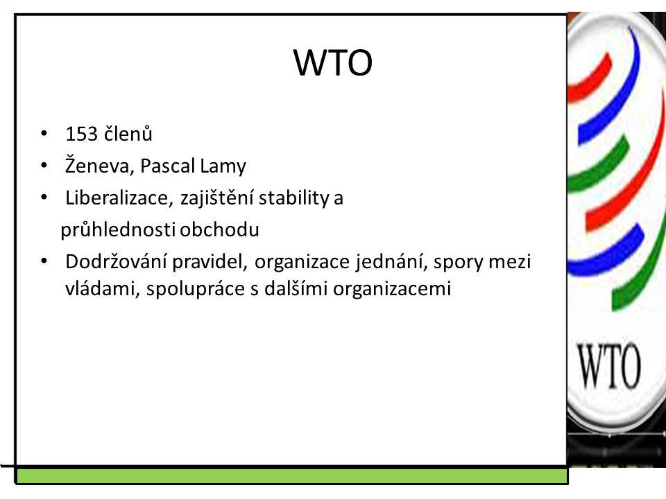 WTO 153 členů Ženeva, Pascal Lamy Liberalizace, zajištění stability a průhlednosti obchodu Dodržování pravidel, organizace jednání, spory mezi vládami