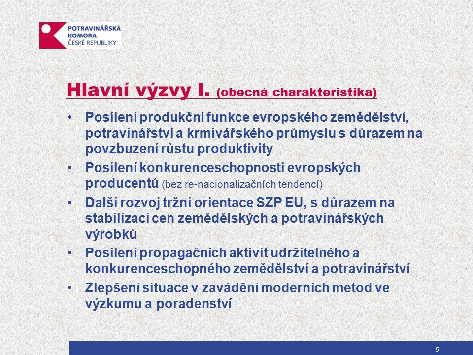 Hlavní výzvy I. (obecná charakteristika) Posílení produkční funkce evropského zemědělství, potravinářství a krmivářského průmyslu s důrazem na povzbuz