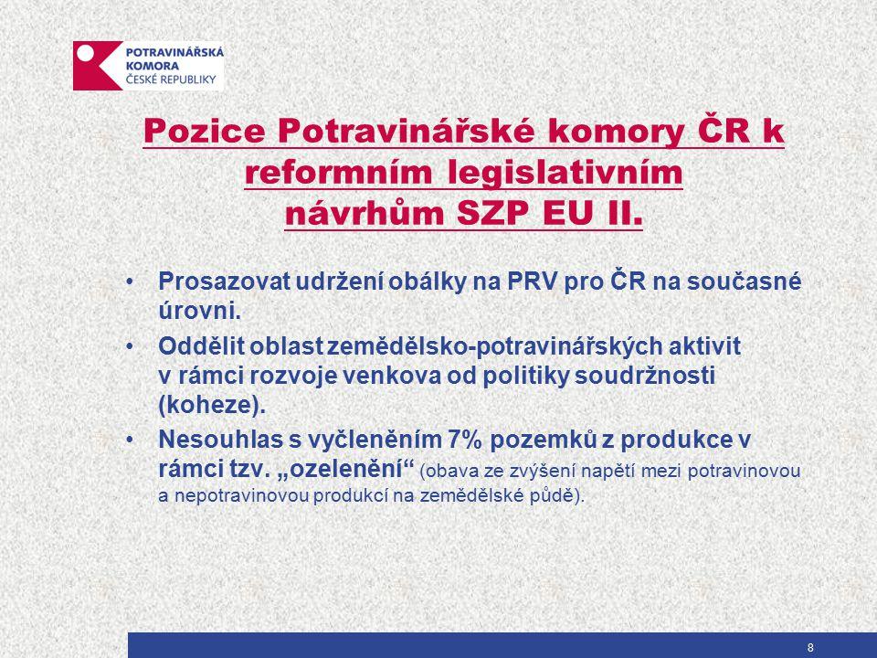 Pozice Potravinářské komory ČR k reformním legislativním návrhům SZP EU II. Prosazovat udržení obálky na PRV pro ČR na současné úrovni. Oddělit oblast