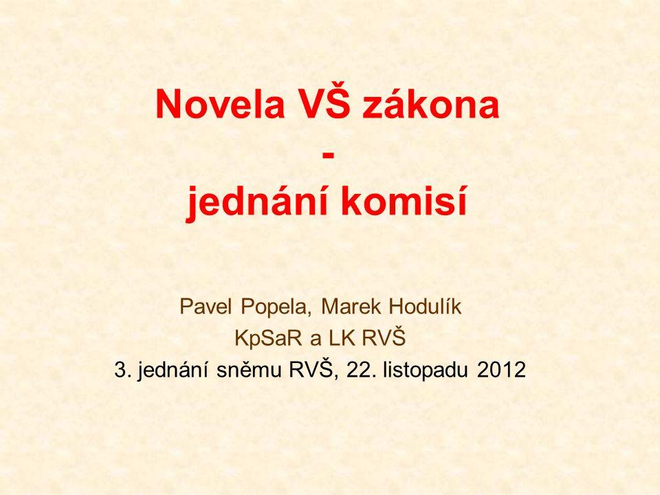 Novela VŠ zákona - jednání komisí Pavel Popela, Marek Hodulík KpSaR a LK RVŠ 3.