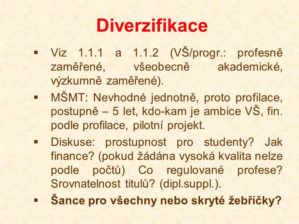 Diverzifikace  Viz 1.1.1 a 1.1.2 (VŠ/progr.: profesně zaměřené, všeobecně akademické, výzkumně zaměřené).