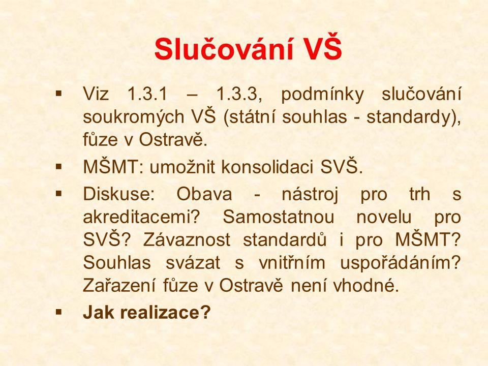 Slučování VŠ  Viz 1.3.1 – 1.3.3, podmínky slučování soukromých VŠ (státní souhlas - standardy), fůze v Ostravě.