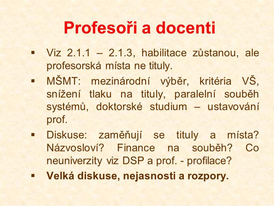 Profesoři a docenti  Viz 2.1.1 – 2.1.3, habilitace zůstanou, ale profesorská místa ne tituly.