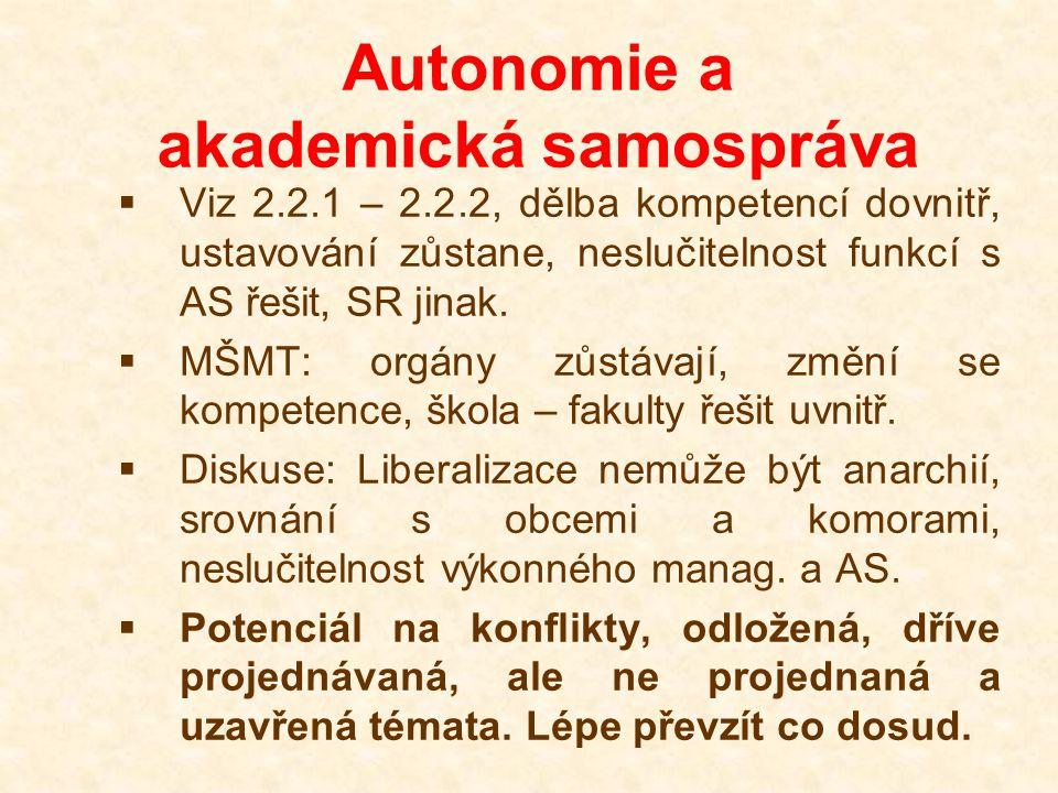 Autonomie a akademická samospráva  Viz 2.2.1 – 2.2.2, dělba kompetencí dovnitř, ustavování zůstane, neslučitelnost funkcí s AS řešit, SR jinak.