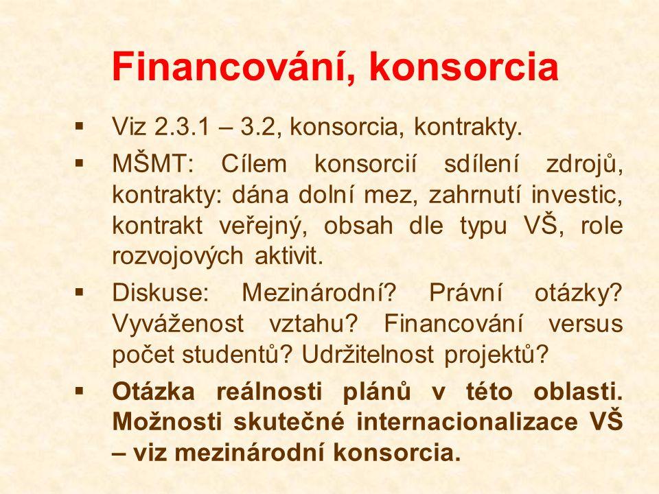 Financování, konsorcia  Viz 2.3.1 – 3.2, konsorcia, kontrakty.