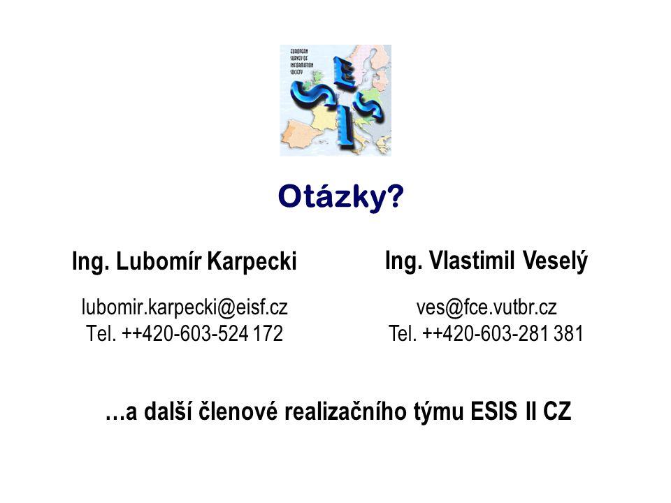 Otázky? Ing. Lubomír Karpecki lubomir.karpecki@eisf.cz Tel. ++420-603-524 172 Ing. Vlastimil Veselý ves@fce.vutbr.cz Tel. ++420-603-281 381 …a další č