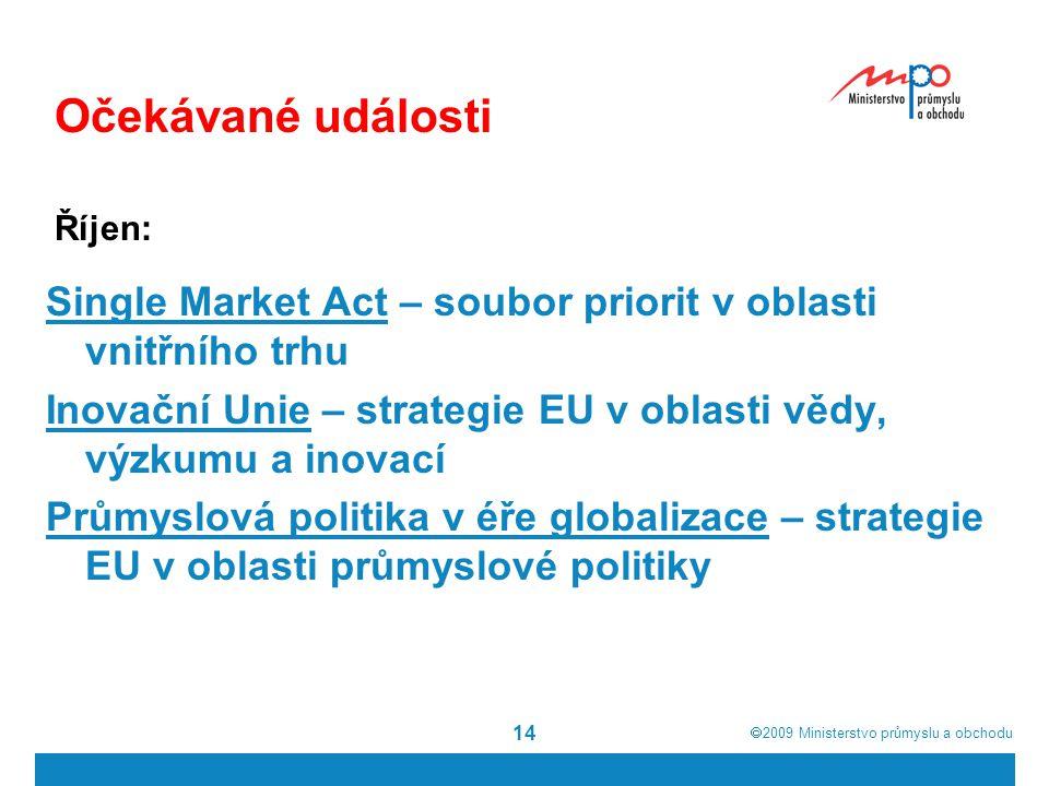  2009  Ministerstvo průmyslu a obchodu 14 Single Market Act – soubor priorit v oblasti vnitřního trhu Inovační Unie – strategie EU v oblasti vědy, výzkumu a inovací Průmyslová politika v éře globalizace – strategie EU v oblasti průmyslové politiky Očekávané události Říjen: