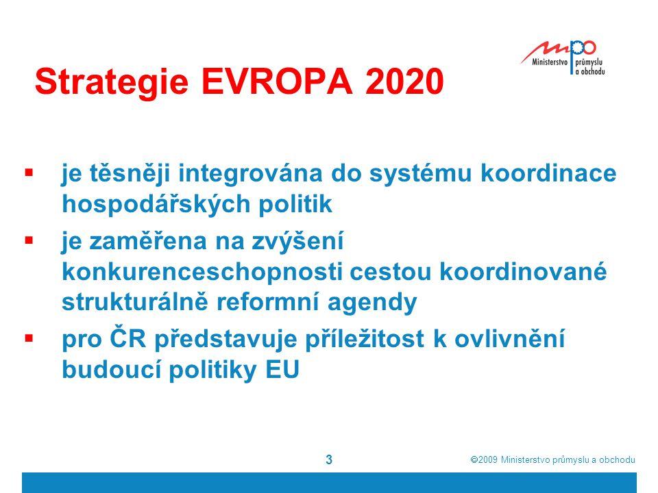  2009  Ministerstvo průmyslu a obchodu 3 Strategie EVROPA 2020  je těsněji integrována do systému koordinace hospodářských politik  je zaměřena na zvýšení konkurenceschopnosti cestou koordinované strukturálně reformní agendy  pro ČR představuje příležitost k ovlivnění budoucí politiky EU