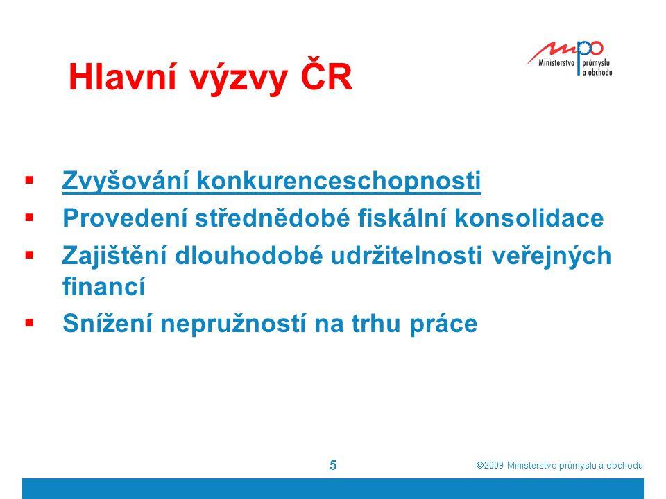  2009  Ministerstvo průmyslu a obchodu 5 Hlavní výzvy ČR  Zvyšování konkurenceschopnosti  Provedení střednědobé fiskální konsolidace  Zajištění dlouhodobé udržitelnosti veřejných financí  Snížení nepružností na trhu práce