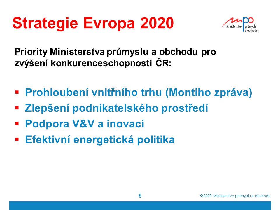  2009  Ministerstvo průmyslu a obchodu 6 Strategie Evropa 2020  Prohloubení vnitřního trhu (Montiho zpráva)  Zlepšení podnikatelského prostředí  Podpora V&V a inovací  Efektivní energetická politika Priority Ministerstva průmyslu a obchodu pro zvýšení konkurenceschopnosti ČR: