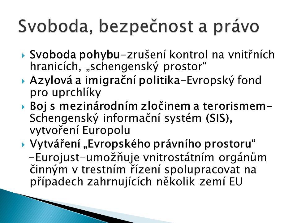 """ Svoboda pohybu-zrušení kontrol na vnitřních hranicích, """"schengenský prostor  Azylová a imigrační politika-Evropský fond pro uprchlíky  Boj s mezinárodním zločinem a terorismem- Schengenský informační systém (SIS), vytvoření Europolu  Vytváření """"Evropského právního prostoru -Eurojust-umožňuje vnitrostátním orgánům činným v trestním řízení spolupracovat na případech zahrnujících několik zemí EU"""