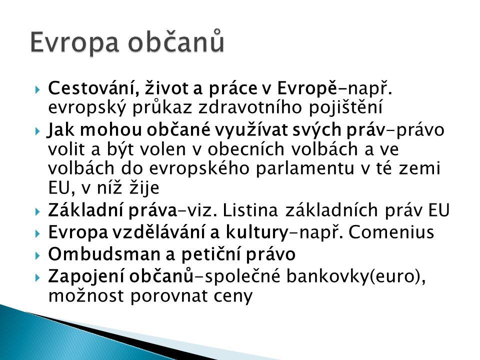  Cestování, život a práce v Evropě-např.